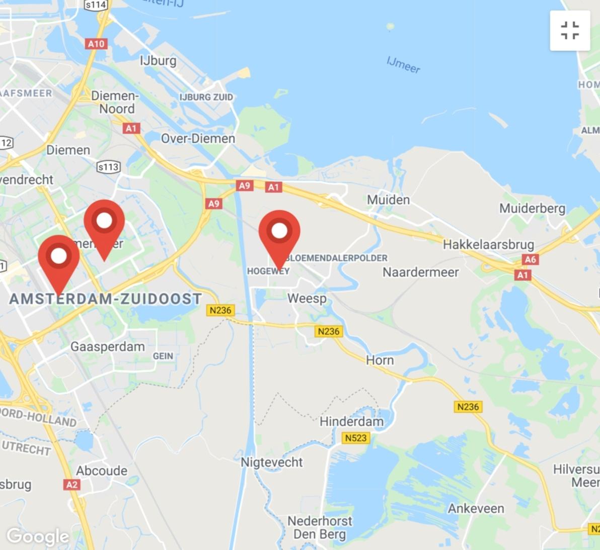 Kaart coronatest-weesp.com - Coronatest locaties Amsterdam